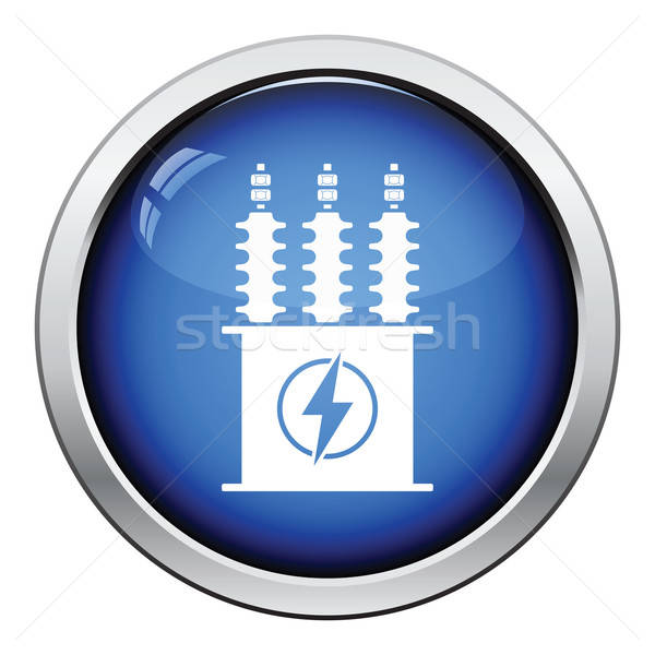 Elektrik transformatör ikon parlak düğme dizayn Stok fotoğraf © angelp