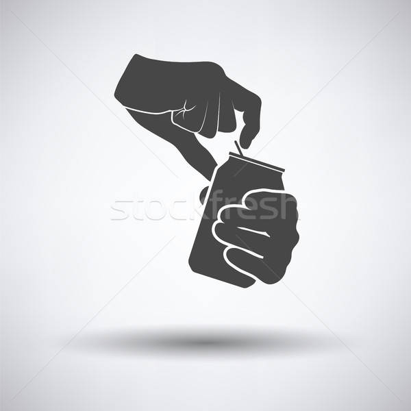 Human hands opening aluminum can icon Stock photo © angelp