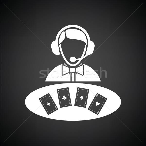 казино дилер икона черно белые знак черный Сток-фото © angelp