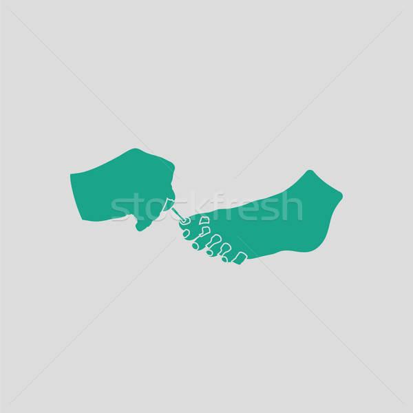 Pedicure icon grijs groene meisje vrouwen Stockfoto © angelp