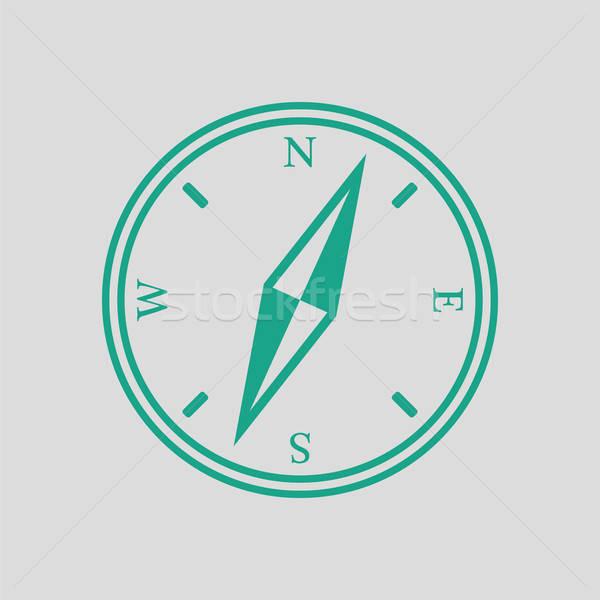 компас икона серый зеленый карта путешествия Сток-фото © angelp
