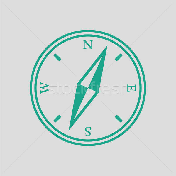 Brújula icono gris verde mapa viaje Foto stock © angelp
