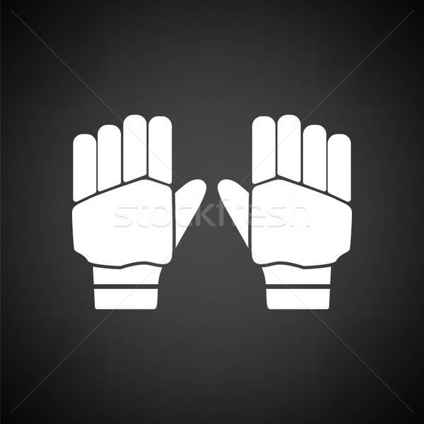 Pár krikett kesztyű ikon feketefehér kezek Stock fotó © angelp