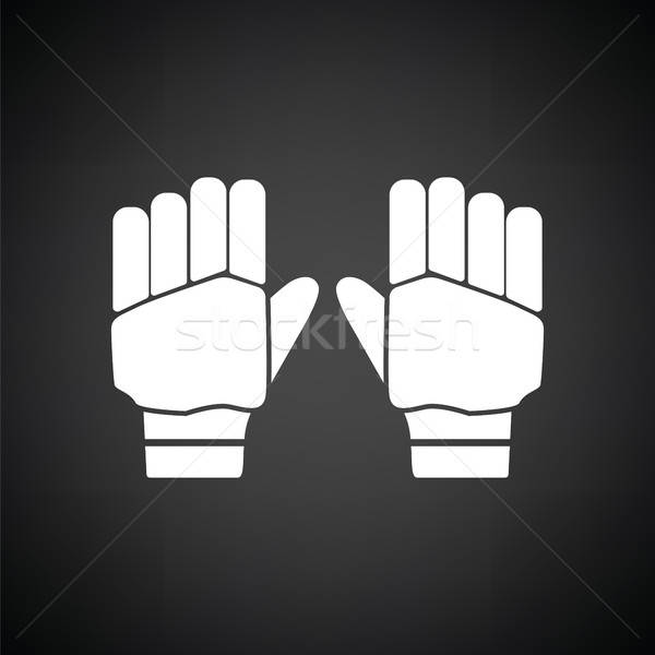 Par críquete luvas ícone preto e branco mãos Foto stock © angelp
