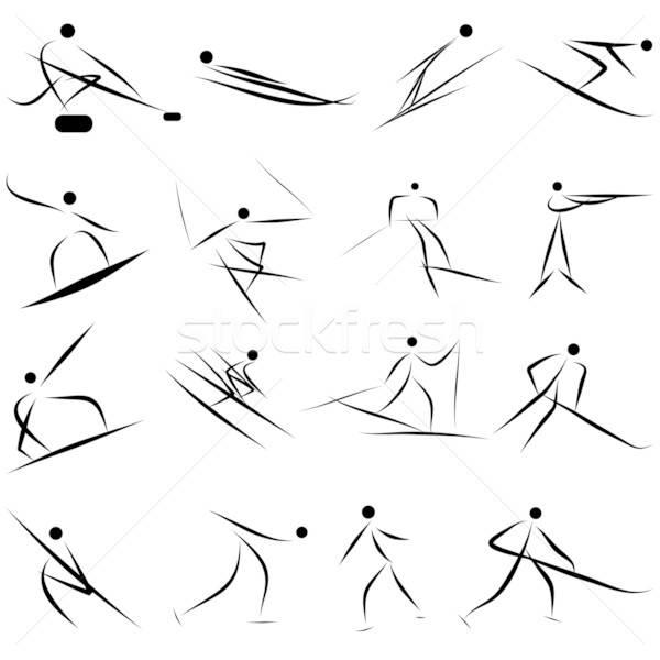 Téli sport ikon gyűjtemény játékok férfi sport pár Stock fotó © angelp