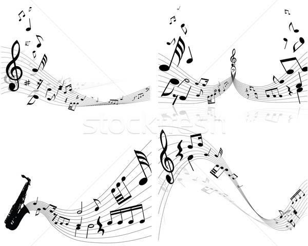 Szett jegyzetek négy vektor hangjegyek személyzet Stock fotó © angelp