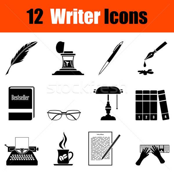 Set scrittore dodici nero icone Foto d'archivio © angelp