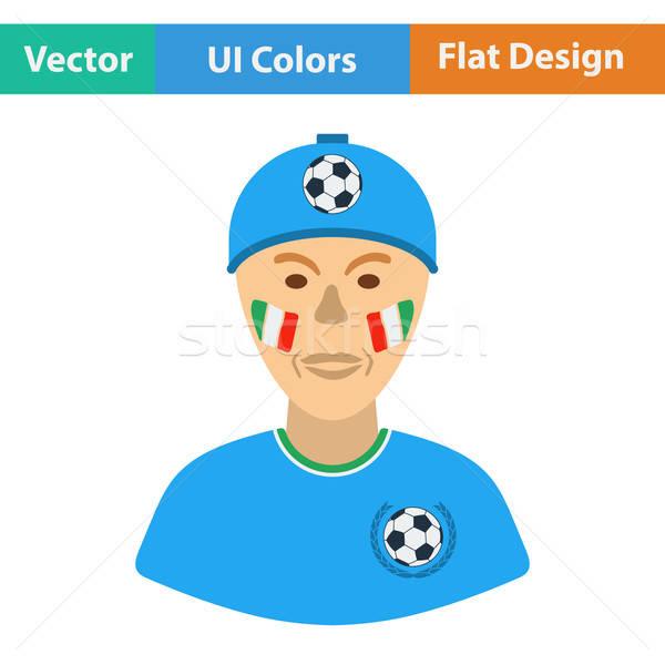 Futball ventillátor festett arc olasz zászlók Stock fotó © angelp