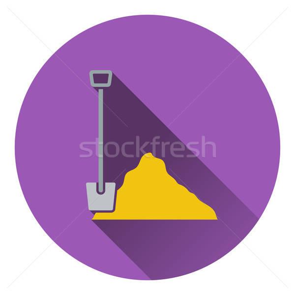 Icon bouw schop zand gebouw ontwerp Stockfoto © angelp