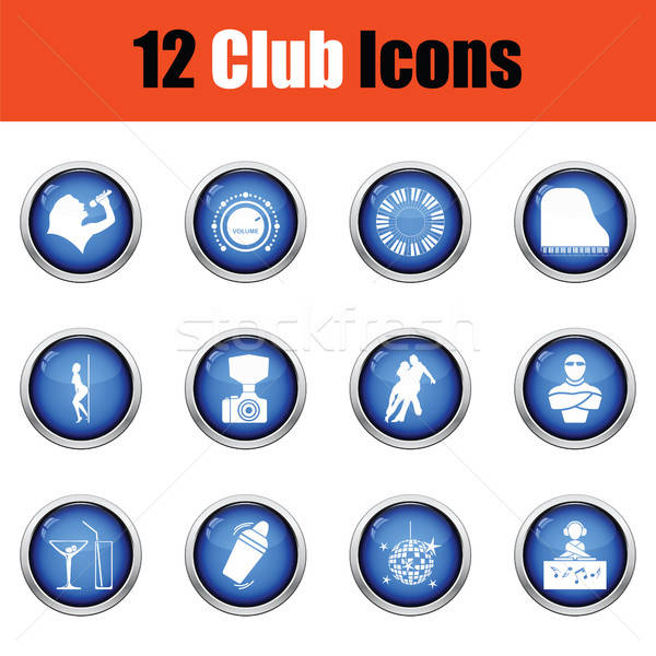 Zestaw dwanaście klub nocny ikona Zdjęcia stock © angelp