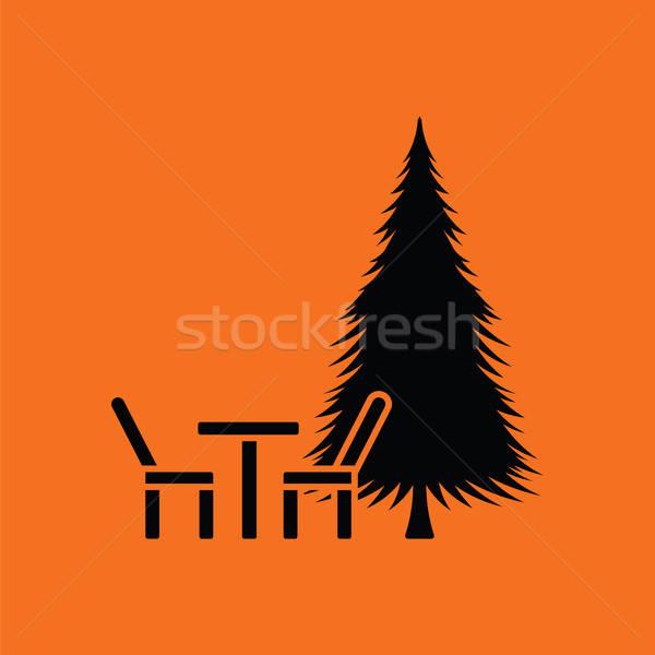 Parque asiento pino icono naranja negro Foto stock © angelp