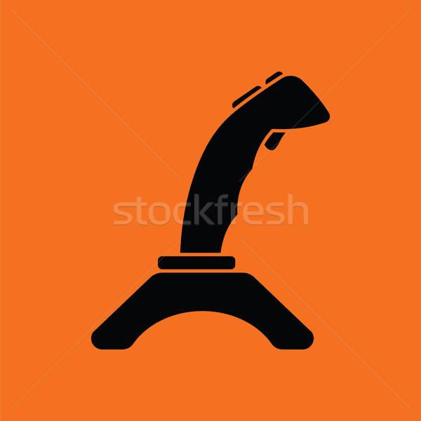 джойстик икона оранжевый черный компьютер интернет Сток-фото © angelp