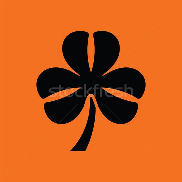 Shamrock ikon narancs fekete virág absztrakt Stock fotó © angelp