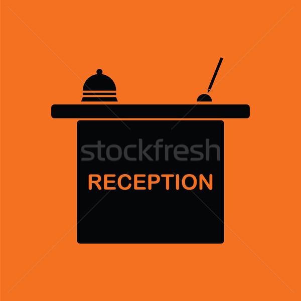 Hotel receptie bureau icon oranje zwarte Stockfoto © angelp