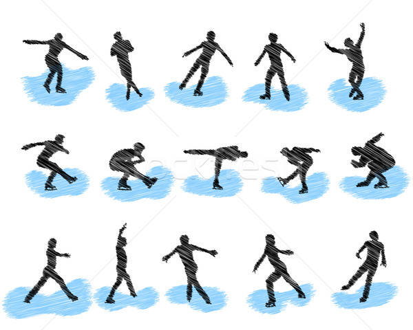 Establecer patinaje artístico grunge siluetas eps Foto stock © angelp