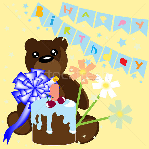 Foto stock: Feliz · aniversário · cartão · tenha · bolo · crianças