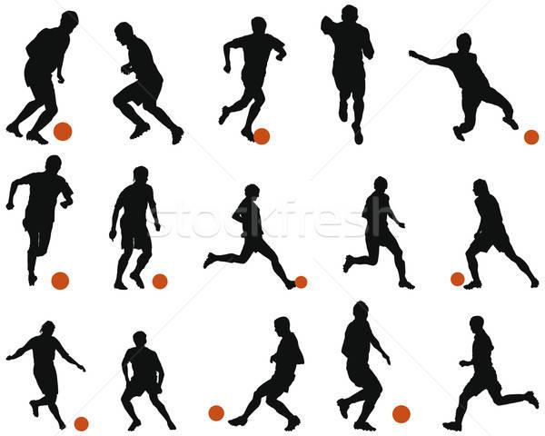 Futebol futebol silhueta conjunto coleção diferente Foto stock © angelp