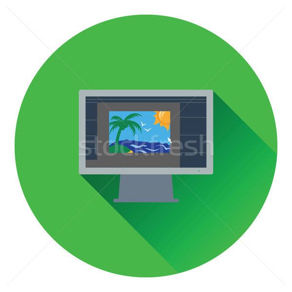 Icon of photo editor on monitor screen Stock photo © angelp