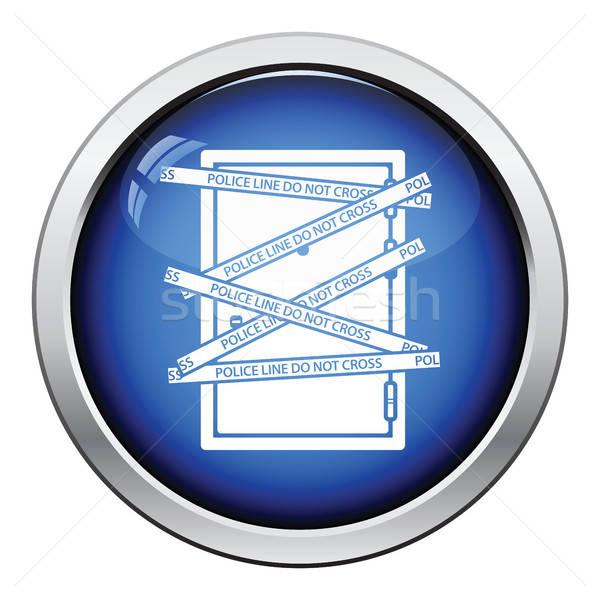 Delict deur icon glanzend knop ontwerp Stockfoto © angelp
