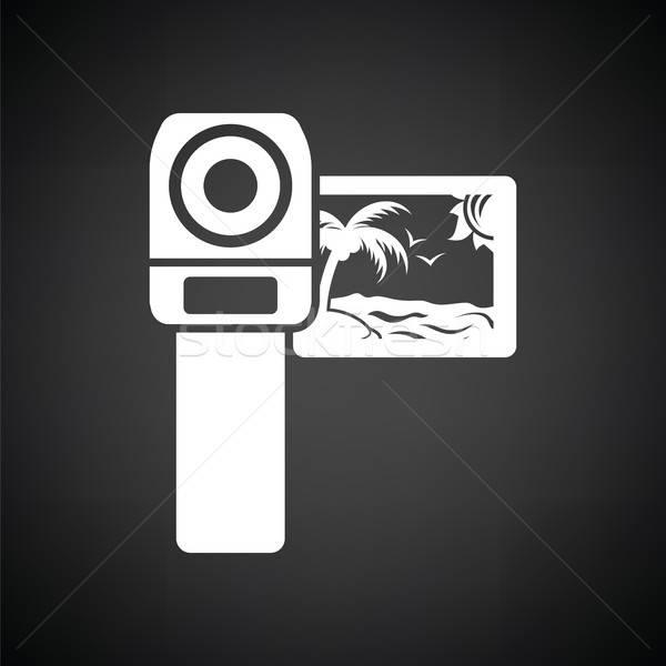 Caméra vidéo icône blanc noir film technologie signe Photo stock © angelp