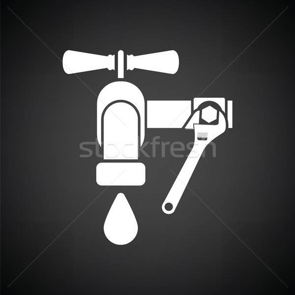 Icône clé robinet blanc noir eau maison Photo stock © angelp