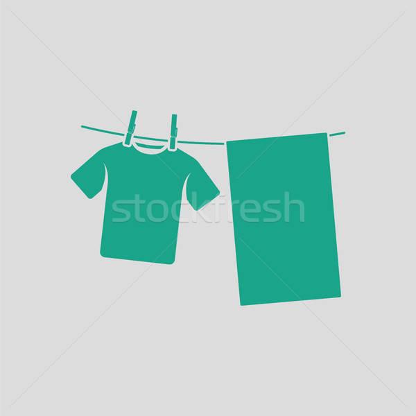 Vászon ikon szürke zöld nyár szoba Stock fotó © angelp