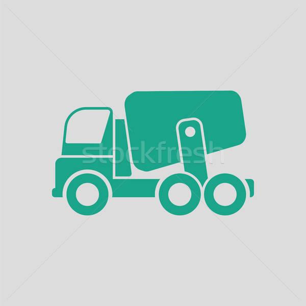 Ikon beton mikser kamyon gri yeşil Stok fotoğraf © angelp