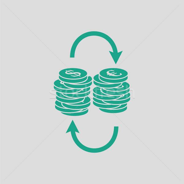 Dollar euro coins stack icon Stock photo © angelp