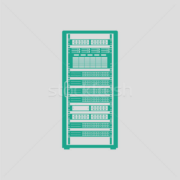 Szerver rack ikon szürke zöld üzlet számítógép Stock fotó © angelp