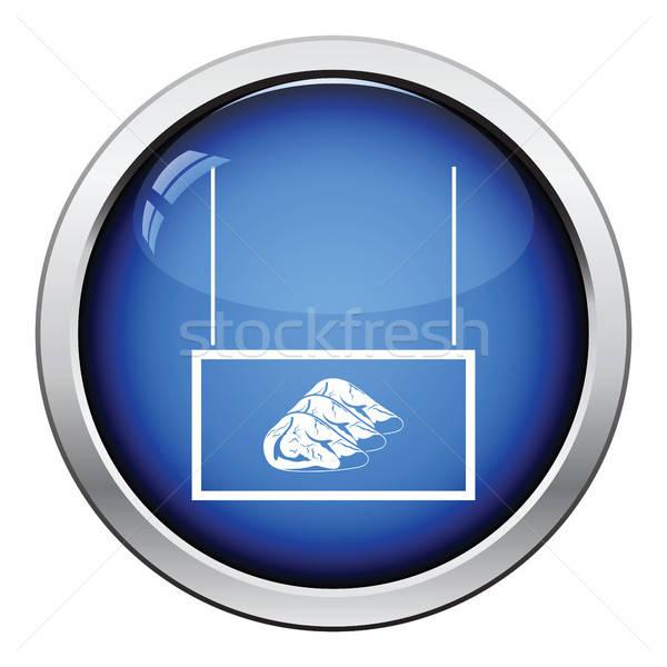 Vlees markt afdeling icon glanzend knop Stockfoto © angelp