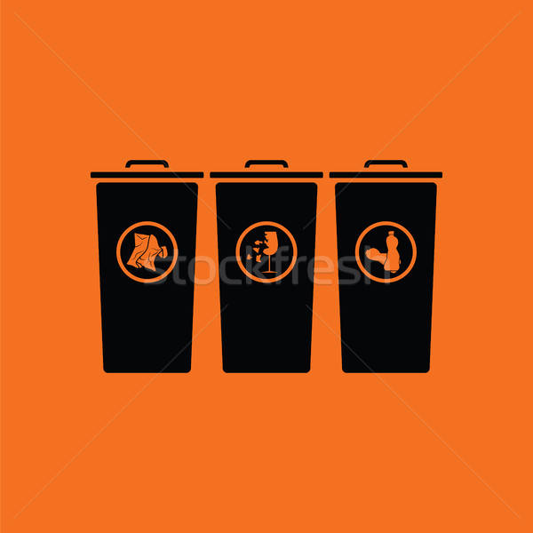 Vuilnis prullenbak icon oranje zwarte papier Stockfoto © angelp