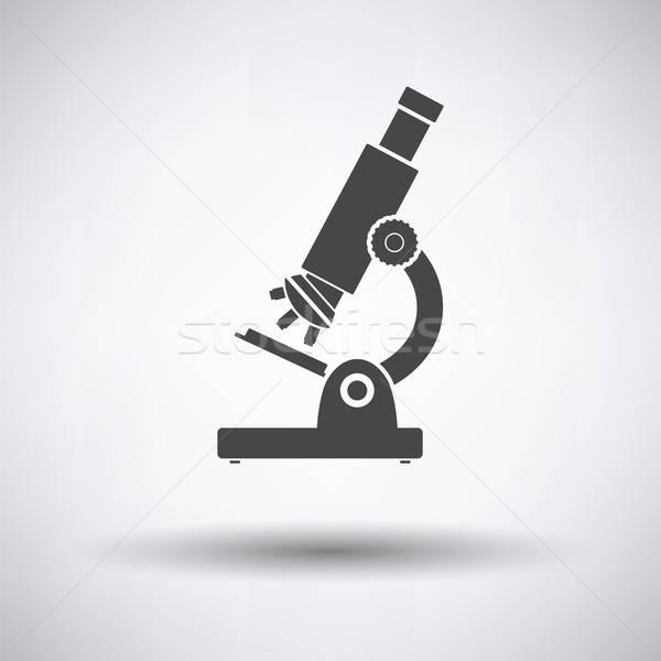 Iskola mikroszkóp ikon szürke technológia kórház Stock fotó © angelp