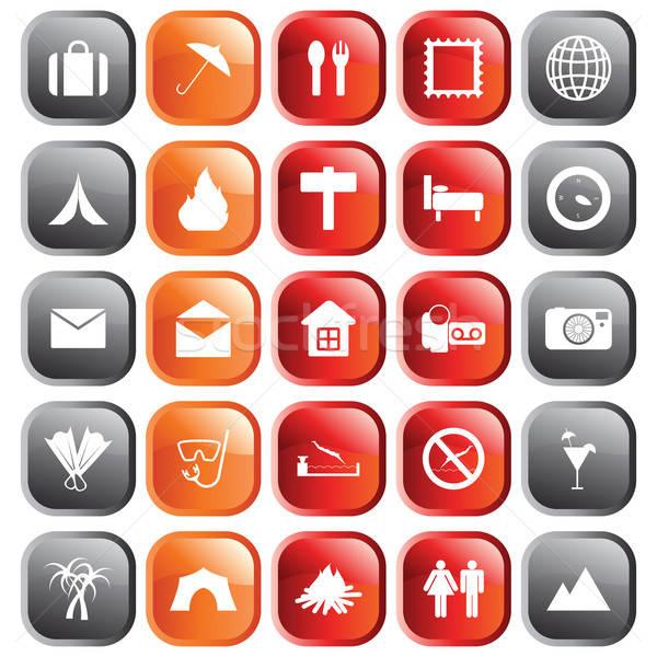 Utazás ikon szett szett különböző vektor webes ikonok Stock fotó © angelp