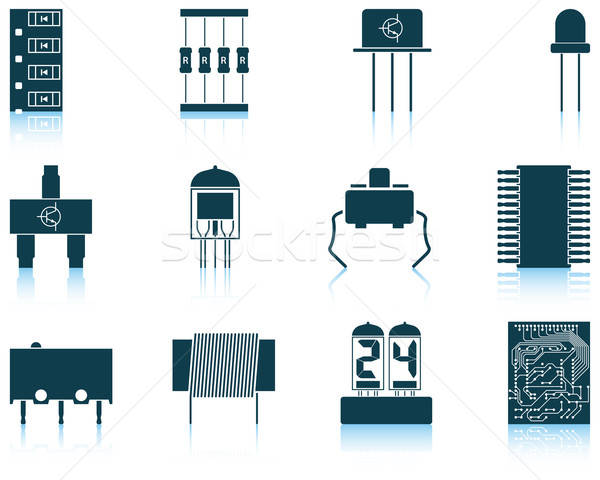 Set of electronic components icons Stock photo © angelp