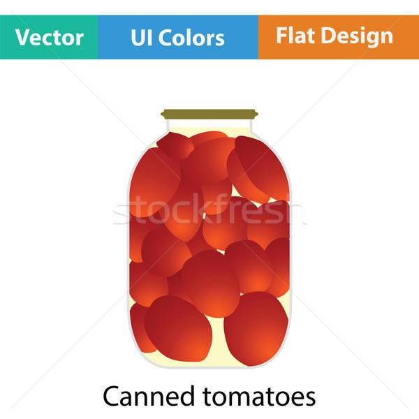 Dobozos paradicsomok ikon szín terv üveg Stock fotó © angelp