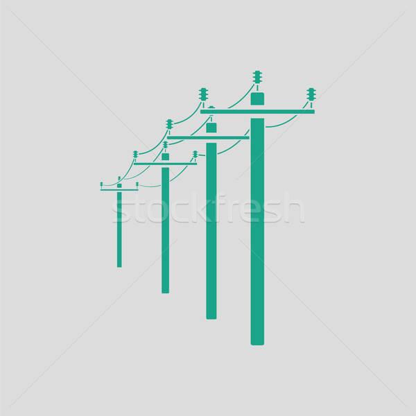 Nagyfeszültség vonal ikon szürke zöld technológia Stock fotó © angelp