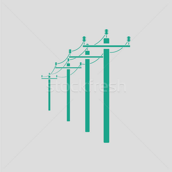 Hoogspanning lijn icon grijs groene technologie Stockfoto © angelp