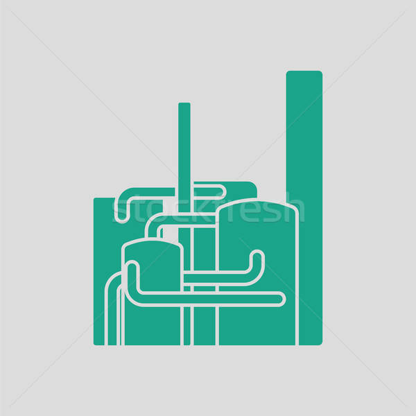 Chemische plant icon grijs groene business Stockfoto © angelp