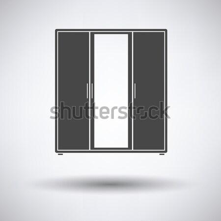 Ruhásszekrény tükör ikon szürke nő divat Stock fotó © angelp
