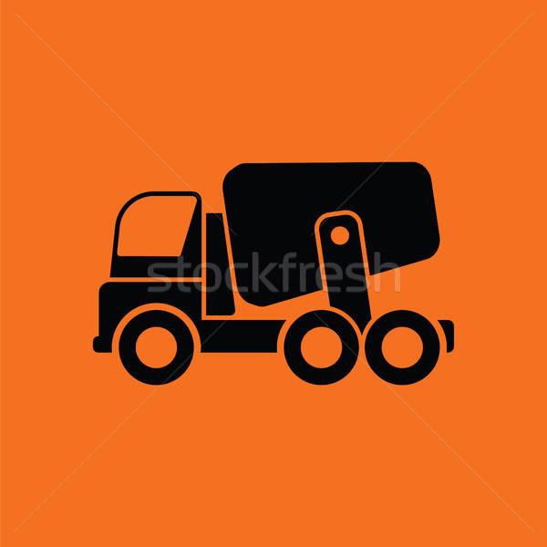 Foto stock: Icono · concretas · mezclador · camión · naranja · negro