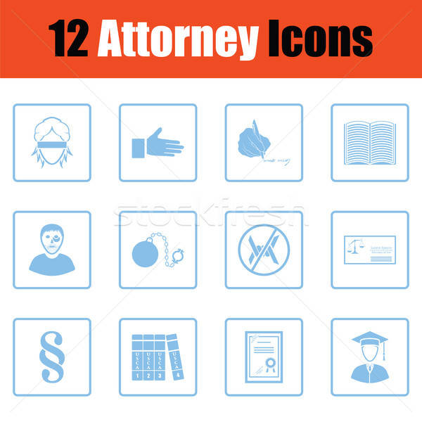 Avoué icônes bleu cadre Photo stock © angelp