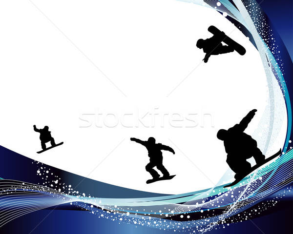 Jumping Snowboarder Silhouette Stock photo © angelp