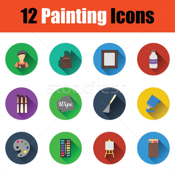 Set of painting icons Stock photo © angelp