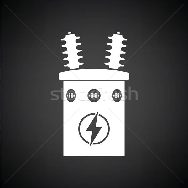 Elektryczne transformator ikona czarno białe tle polu Zdjęcia stock © angelp