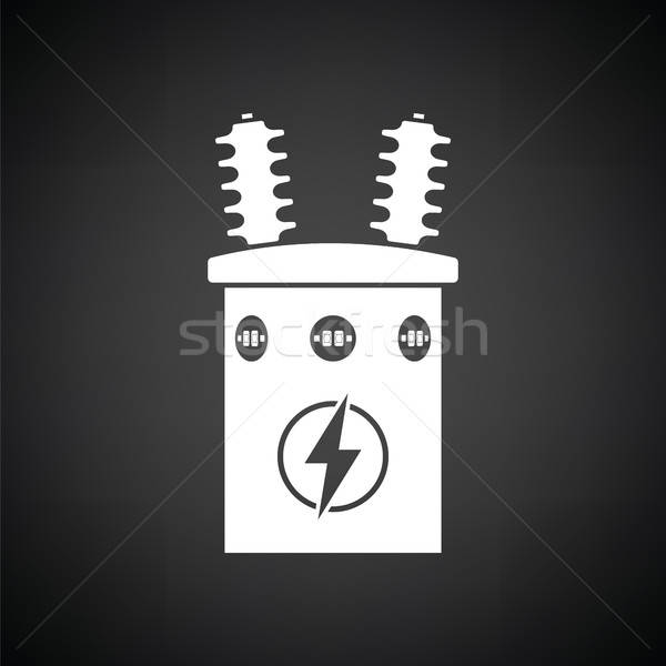 Elektrik transformatör ikon siyah beyaz arka plan kutu Stok fotoğraf © angelp