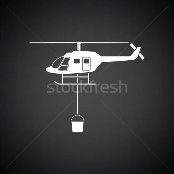 火災 サービス ヘリコプター アイコン 黒白 黒 ストックフォト © angelp