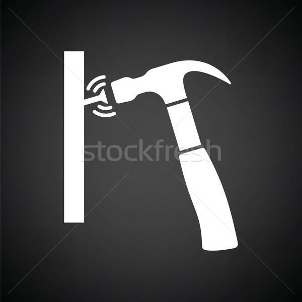 Icon hamer slaan nagel zwart wit bouw Stockfoto © angelp