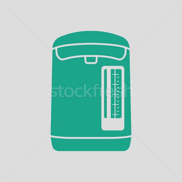 Konyha elektromos bogrács ikon szürke zöld Stock fotó © angelp