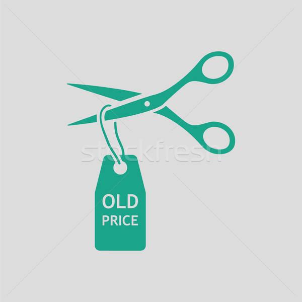 Scissors cut old price tag icon Stock photo © angelp