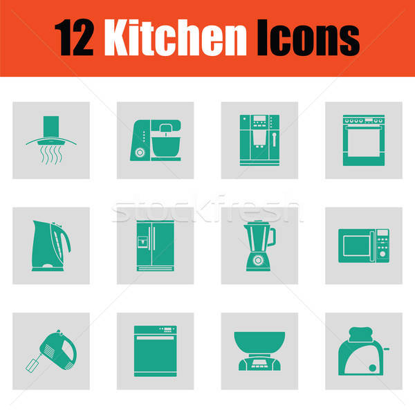 Kitchen icon set Stock photo © angelp